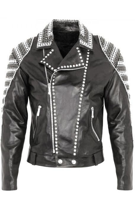 Hand Stitched Men Black Genuine Biker Leather Jacket Silver Studded Brando Style
