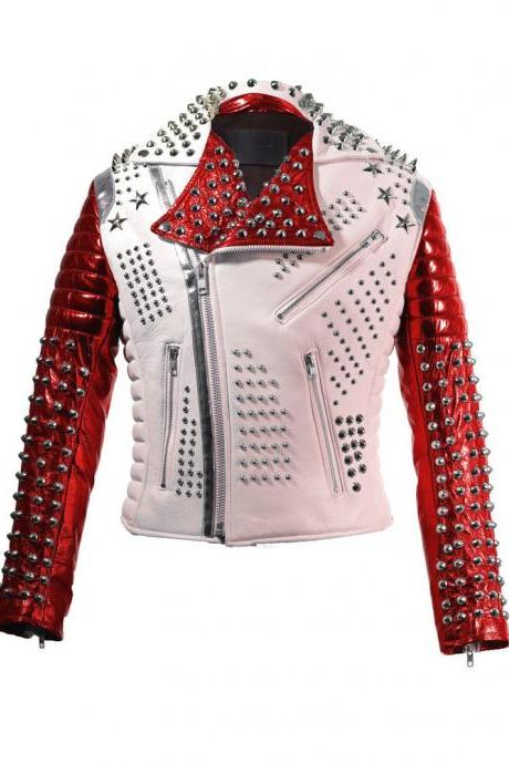 Two Tone White & Red Motor Biker Genuine Leather Jacket Full Silver Spike Studs