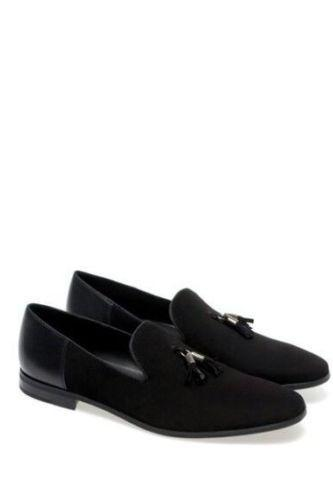 Black Moccasin Handmade Men's Suede Leather Made With Cow Leather Black Sole Customized