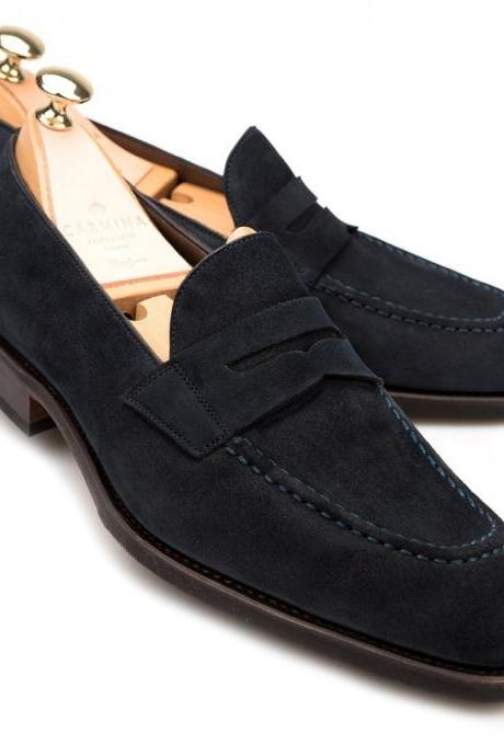 Navy Blue Suede Moccasin Mens Handmade With Contrast Color Sole and Thread Used Formal Dress Shoes