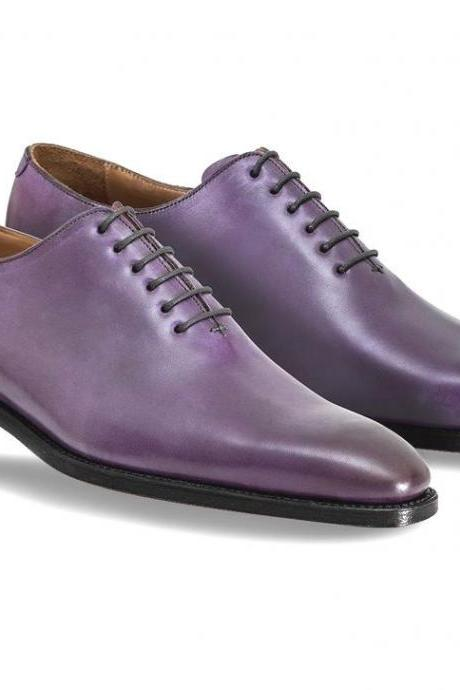 Purple Color Oxford Shoes Handmade Men's Plain Toe Leather Shoes with Black Sole Formal Dress Shoes