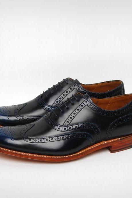 Man's Two Tone Black And Blue monks Shoes Handmade Brogue Toe Leather Lace up Shoes