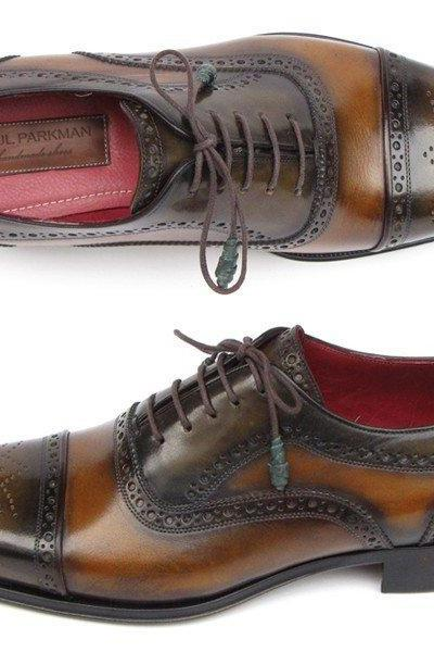 Man's Oxford Brown Colour Handmade Brogue Toe Leather Lace up Shoes