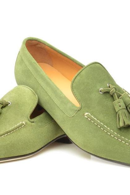 Women's Oxford Green Color Handmade Tessel Suede Leather Shoes