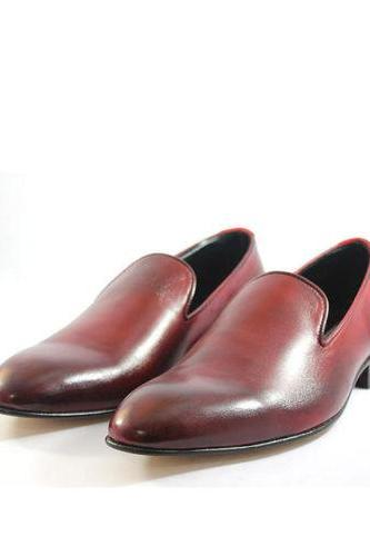 Man's Oxford Maroon Color Handmade Formal Burnished Leather Shoes