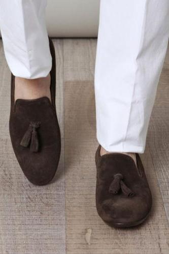 Man's Oxford Brown Color Handmade Tessel Suede Leather Shoes