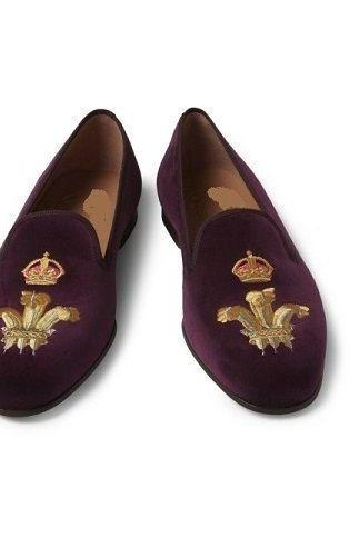Women's Maroon Color Embroided Handmade Suede Leather Shoes