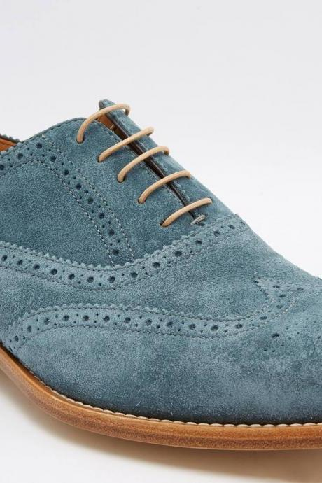 Man's Handmade Blue Color Brogue Toe Oxford Suede Leather Lace Up Tan Sole Shoes