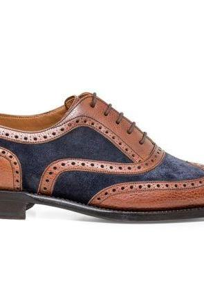 Man's Handmade Two Tone Brown and Blue Color Tweed Brogue Toe Leather Shoes