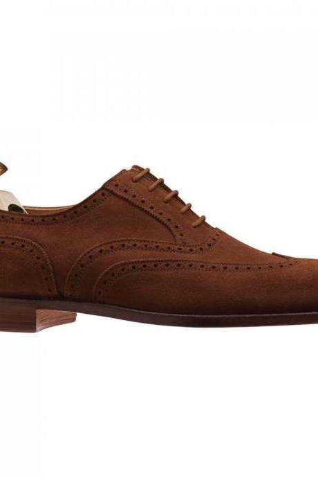 Man's Handmade Brown Color Brogue Toe Suede Leather Lace Up Shoes