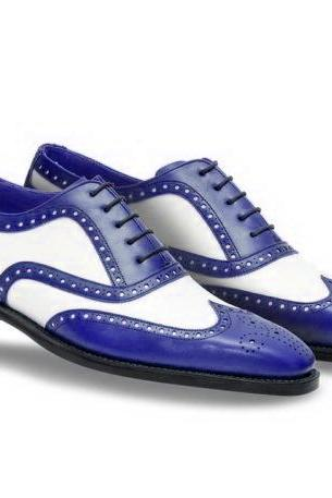 Man's Handmade Two Tone Blue and White Brogue Toe Genuine Leather Shoes