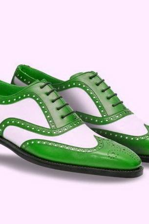 Man's Handmade Two Tone Green and White Brogue Toe Genuine Leather Lace Up Shoes
