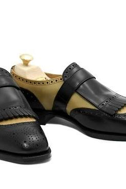Two Tone Monk Single Buckle Strap Brogue Toe Ivory Black Fringed Genuine Leather Formal Shoes