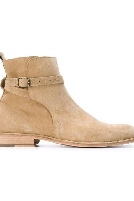 Beige Jodhpurs High Ankle Single Buckle Strap Derby Toe Real Suede Leather Handmade Boots
