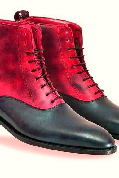 Two tone Red Suede Black Real Leather Derby Toe Lace Up Handmade High Ankle Boots