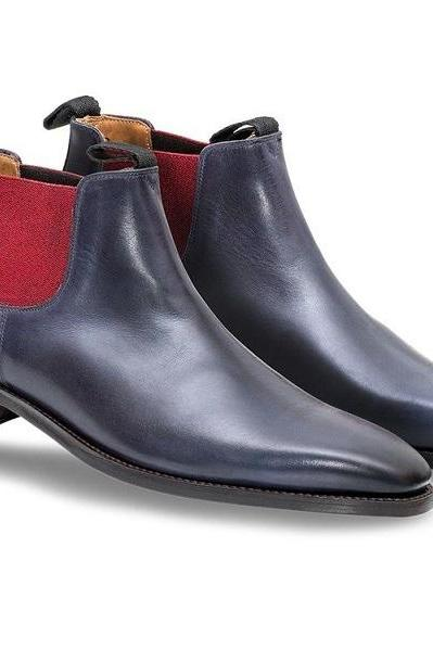 Chelsea Blue Red Cont Genuine Leather Derby Toe Handmade High Ankle Boots