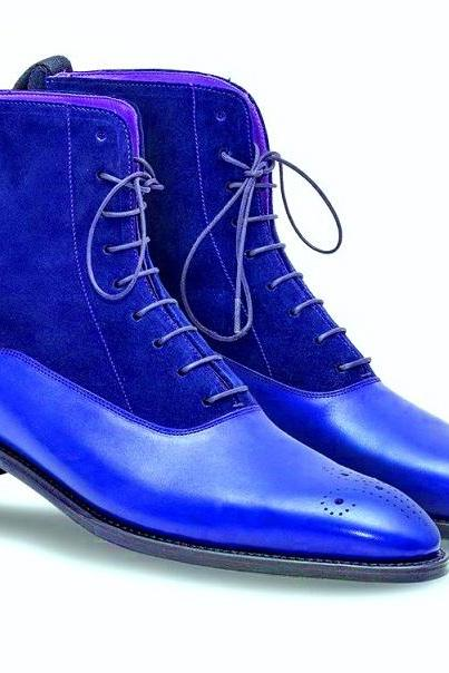 Two Tone Blue Suede Genuine Leather High Ankle Derby Toe Handmade Lace Up Boots