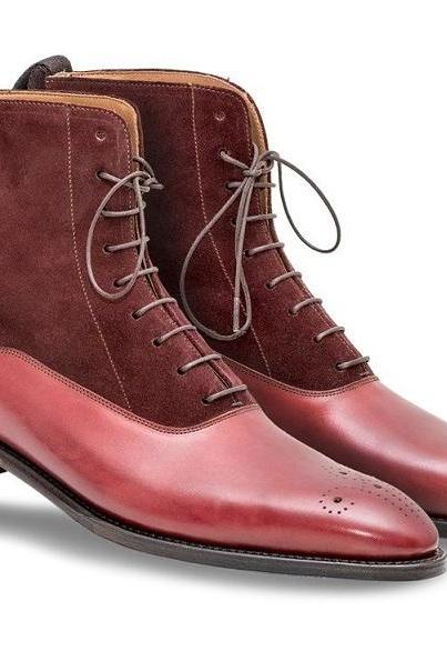 Maroon Red Cont Suede Real Leather Derby Toe Handmade Lace Up High Ankle Boots