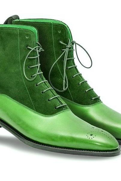 High Ankle Green Suede Real Leather Derby Toe Medallion Toe Lace Up Boots