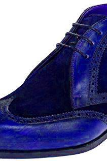 Navy Blue Suede Genuine Leather Brogue Toe Lace Up High Ankle Wing Tip Boots