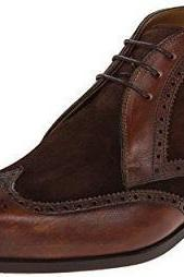 Suede Brown Genuine Leather Brogue Toe Lace Up Wing Tip High Ankle Boots