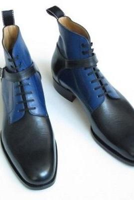 Blue Black Cont Rounded Single Buckle Strap High Ankle Lace Up Boots