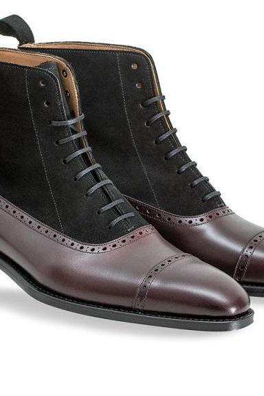 Ankle High Black Suede Brown Genuine Leather Derby Cap Toe Lace Up Boots
