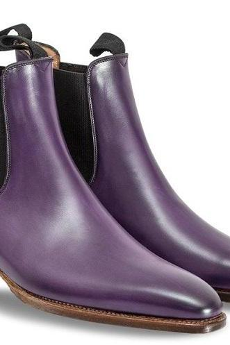 Chelsea Jumper Slip On Purple Vintage Leather Rounded Derby Toe High Ankle Boots