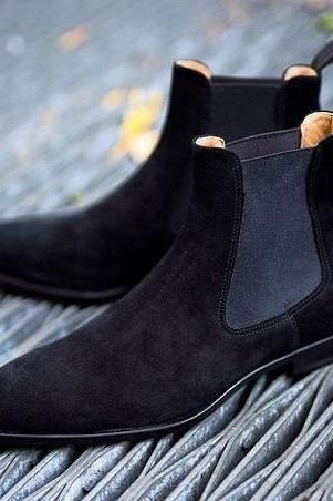 Navy Blue Suede Chelsea Jumper Slip On Real Leather Handmade High Ankle Fashion Boots