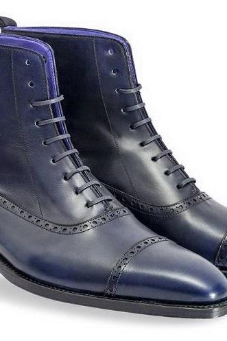 High Ankle Blue Genuine Leather Rounded Derby Cap Toe Handmade Lace Up Boots
