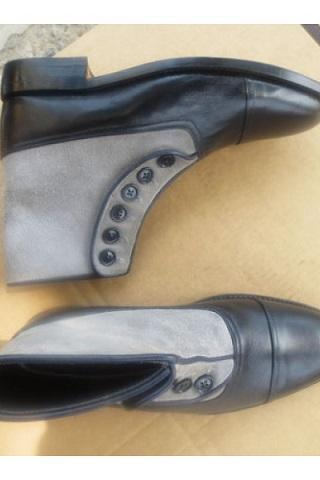 Gray Suede Black Genuine Leather Rounded Derby Cap Toe High Ankle Buttons Boot