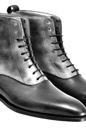 High Ankle Two Tone Gray Black Vintage Leather Lace Up Derby Toe Men Boots