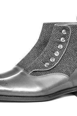 High Ankle Gray Tweed Genuine Leather Medallion Toe Handmade Buttons Boot