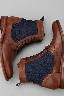 Men's Tweed Blue Brown Genuine Leather Derby Toe Lace Up High Ankle Boots