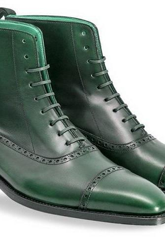 Green Color Genuine Leather Rounded Derby Cap Toe Lace Up High Ankle Boots