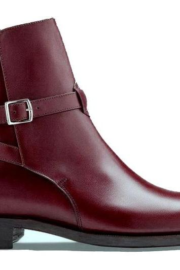 Maroon Jodhpurs Rounded Single Buckle Strap Real Leather Derby Toe High Ankle Boots