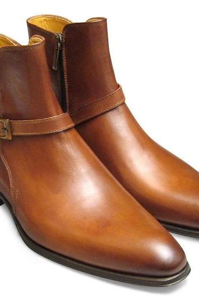 Monk Brown Genuine Leather Single Buckle Strap Derby Toe Handmade High Ankle Boots