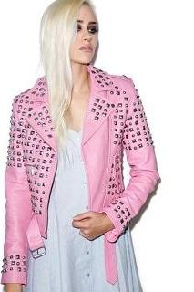 Women Awesome Pinkish Leather Studded Belted Party Wear Fashion Jacket