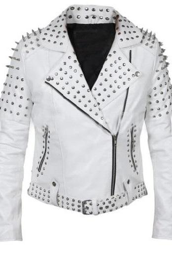 Women White Genuine Leather Brando Handmade Silver Studwork Fashion Jacket