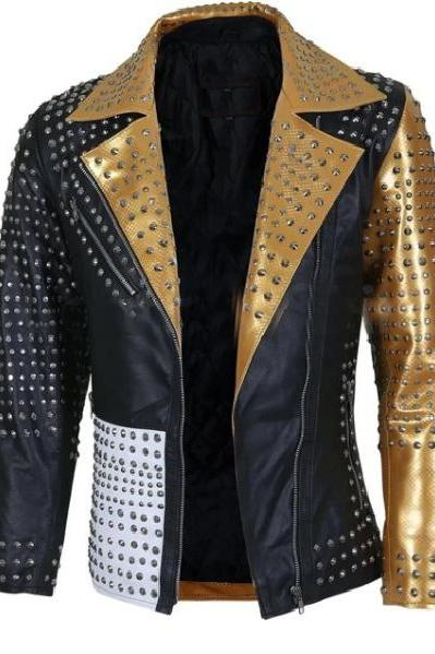 Multi Color Punk Studded Genuine Leather Full Silver Studwork Brando Handmade Jacket