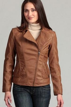Brown Fashionable Brando Women Front Zipper Real Cowhide Leather Slim Fit Outerwear Jacket