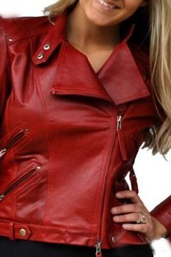 Customize Maroon Brando Women Vintage Leather Belted Buckle Slim Fit Party Fashion Jacket