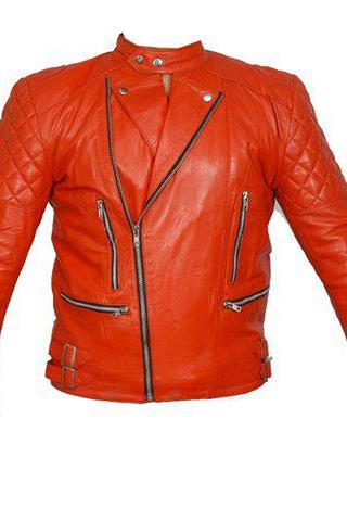 Red Brando Genuine Leather Quilted Belted Buckle Women Fashion Biker Jackets