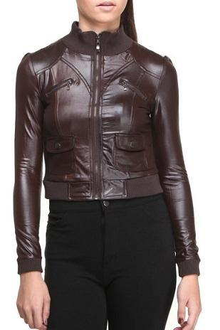 Chocolate Brown Vintage Leather Stretchable Waist sleeves and Collar Slim Fit Fashion Jacket