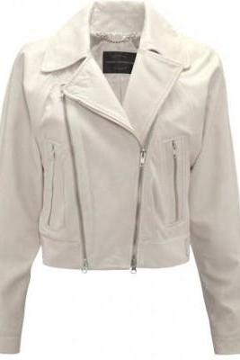 White Real Cowhide Leather Brando Zipper Style Handmade Fashionable Women Jacket