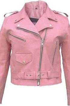 Customize Women Pink Color Brando Real Leather Belted Waist Shoulder Epaulets Fashion Jacket