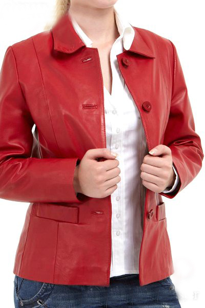 Women Attractive Red Four Buttons Handmade Fashionable Outer Wear Leather Coat