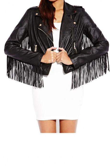 Black Genuine Leather Brando Fastening Zipper Long Fringed Women Western Jacket