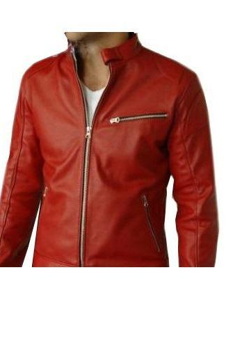 Men's Red Real Leather Front Zipper Fastening Slim Fit Handmade Fashionable Jacket