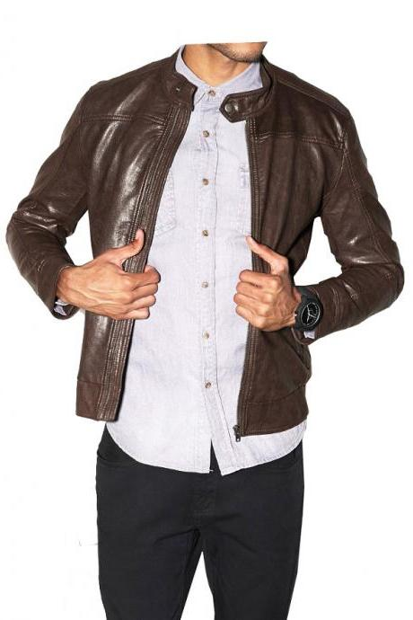 Customize Brown Vintage Leather Front Zipper Tab Collar Men Fashionable Jacket